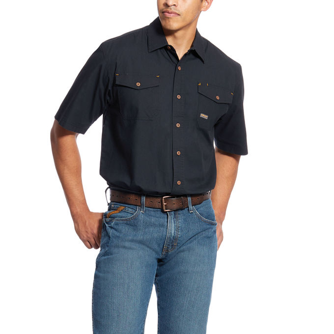 Ariat Rebar Made Tough Button Front S/S Work Shirt -Black
